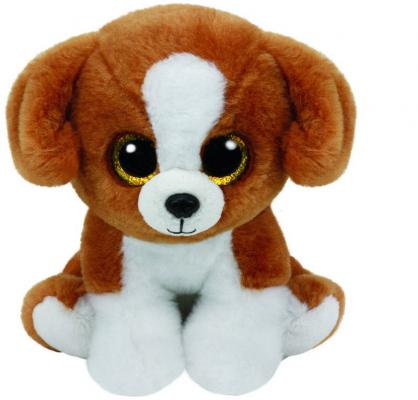 Мягкая игрушка щенок TY Щенок Snicky плюш пластик коричневый белый 20 см