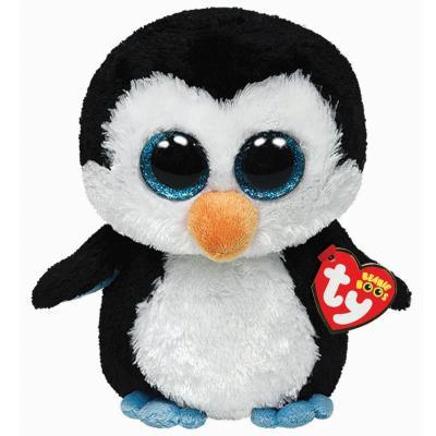 Мягкая игрушка пингвин TY Пингвин Waddles 15 см белый черный плюш пластик  36008