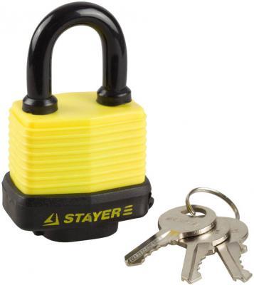Замок Stayer MASTER навесной всепогодный пластиковая защита корпуса с закаленной дужкой на карточке 60мм 37140-50