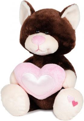 Мягкая игрушка кот MAXITOYS Котик Влюбленный 22 см коричневый искусственный мех текстиль  MT-HH-B28906EB
