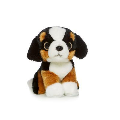 Мягкая игрушка собака MAXITOYS Сенбернар 18 см белый коричневый черный искусственный мех пластик  MT-TSC091404-18