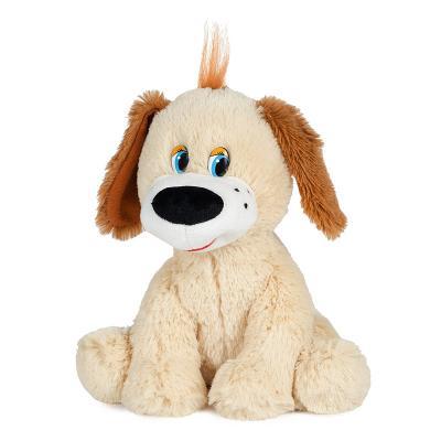 Мягкая игрушка собака MAXITOYS Собачка Тузик 20 см бежевый коричневый искусственный мех текстиль пластик  MP-HH-C6815