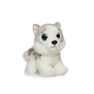 Мягкая игрушка собака MAXITOYS Хаски искусственный мех текстиль пластик белый серый 18 см