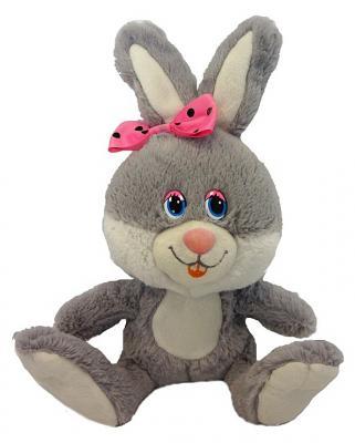 """Мягкая игрушка заяц MAXITOYS """"Милашка с розовым бантиком"""" 21 см серый искусственный мех озвученная MP-HH-R8995E"""