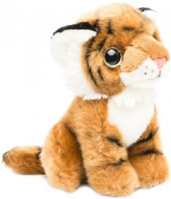 Мягкая игрушка тигр MAXITOYS Тигренок искусственный мех пластик белый рыжий 18 см