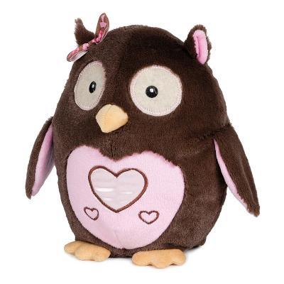 Мягкая игрушка сова MAXITOYS Сова влюбленная 22 см коричневый розовый искусственный мех текстиль пластик  MT-HH-B28874E