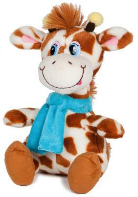 """Мягкая игрушка жираф MAXITOYS """"Димон в шарфике"""" искусственный мех бежевый 20 см озвученный"""