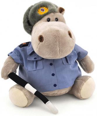 """Мягкая игрушка бегемот ORANGE """"Полицейский"""" плюш серый 20 см"""