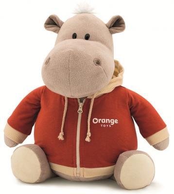 """где купить Мягкая игрушка ORANGE """"Бегемот в оранжевой толстовке"""" 30 см разноцветный плюш текстиль MS6204/30 по лучшей цене"""