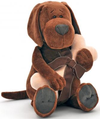"""Мягкая игрушка пёс ORANGE """"Барбоська с косточкой"""" искусственный мех плюш коричневый 20 см"""