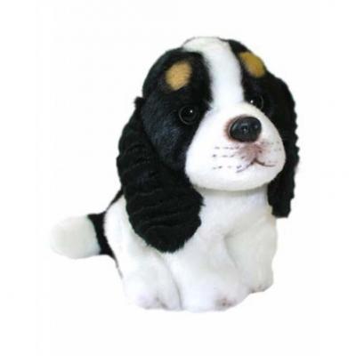 Мягкая игрушка собака FANCY Собака Эля 16 см белый черный плюш пластик текстиль  JD-1547BD