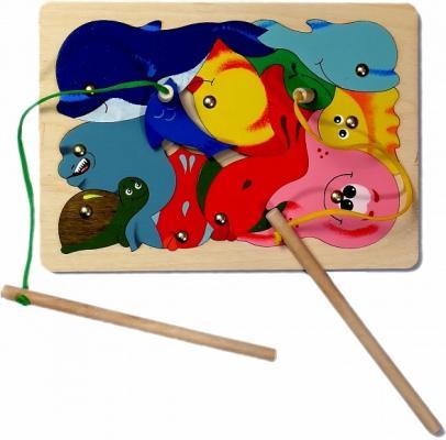 Купить Развивающая игрушка Крона Игра-пазл магнитная Рыбалка, 11 деталей 143-008, Развивающие игрушки из дерева