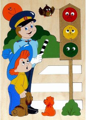 Купить Развивающая игрушка Крона Мозаика-вкладыш дерев. Светофор 143-020, Развивающие игрушки из дерева