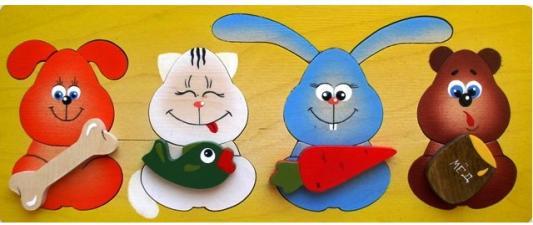 Купить Развивающая игрушка Крона Рамка-вкладыш дерев. Лакомки 143-038, Развивающие игрушки из дерева