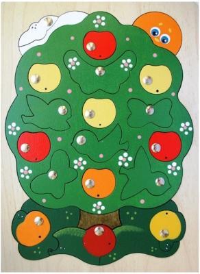 Купить Развивающая игрушка Крона Игра-пазл магнитная Яблоня-загадка, 23 элемента 143-027, Развивающие игрушки из дерева