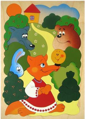 Развивающая игрушка Крона Мозаика-вкладыш дерев. Сказка о Колобке  143-029