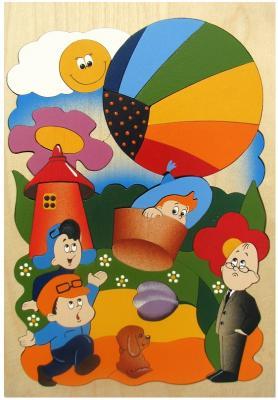 Купить Развивающая игрушка Крона Мозаика-вкладыш дерев. Незнайка на воздушном шаре 143-030, Развивающие игрушки из дерева
