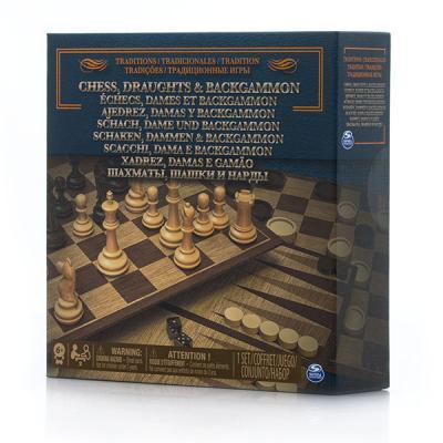 Настольная игра SPIN MASTER набор игр 3-в-1 шахматы/ шашки/ нарды игра spin master 3 в 1 шашки шахматы нарды 6038107