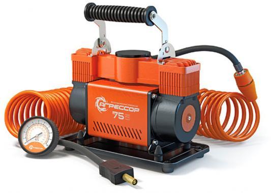 Автомобильный компрессор Агрессор AGR-75 компрессор автомобильный агрессор agr 30l металлический 12v 140w производ сть 30 л мин led фонарь сумка 1 8
