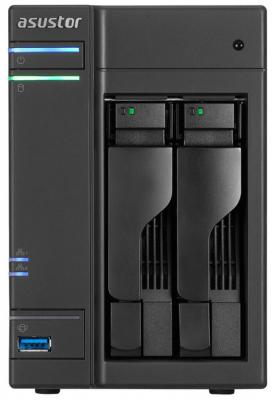 Сетевое хранилище Asustor AS-6102T 2 отсека NAS Celeron 1.6GHz 2Gb DDR3 eSATA 3xUSB3.0