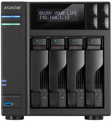 Сетевое хранилище Asustor AS-6104T 4 отсека NAS Celeron 1.6GHz 2Gb DDR3 eSATA 3xUSB3.0
