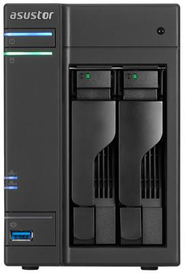 Сетевое хранилище Asustor AS-6202T 2 отсека NAS Celeron 1.6GHz 4Gb DDR3 eSATA 3xUSB3.0