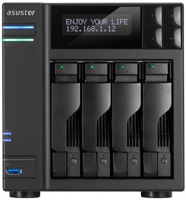 Сетевое хранилище Asustor AS-6204T 4 отсека NAS Celeron 1.6GHz 4Gb DDR3 eSATA 3xUSB3.0