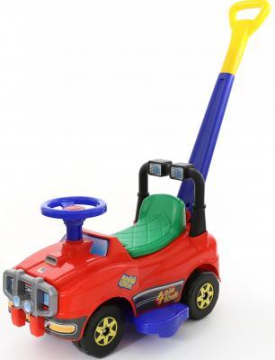 Каталка-машинка Полесье Джип с ручкой и гудком красный от 1 года пластик 62918 полесье автомобиль каталка джип с ручкой цвет красный