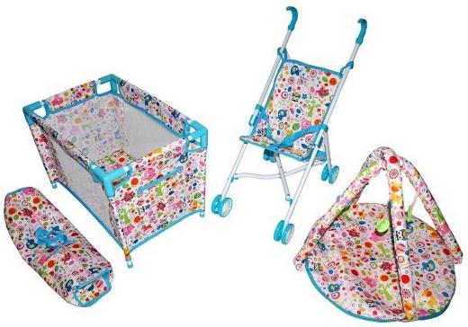 """Набор 3 в1 Mary Poppins """"Фантазия"""": кроватка, коляска-трость, коврик для куклы 38-43 см 67320"""