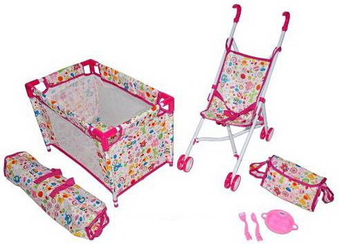 """Набор 3 в1 Mary Poppins Фантазия-2"""": кроватка, коляска-трость и аксессуары для куклы 38-43 см 67327"""