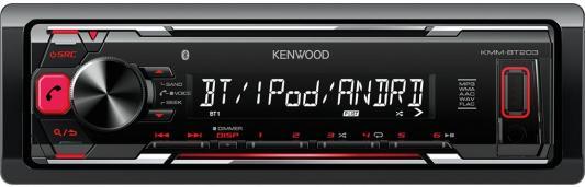 Автомагнитола Kenwood KMM-BT203 USB MP3 FM 1DIN 4х50Вт черный