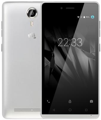 Смартфон Micromax Q354 серебристый 5 8 Гб Wi-Fi GPS 3G смартфон micromax a107 cosmic grey 4 5 8 гб wi fi gps 3g 4 5 2sim 8гб gps wi fi 3g android 5 0 2000 ма ч