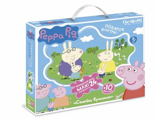 Пазл ОРИГАМИ Peppa Pig Семья кроликов 01538 24 элемента peppa pig пазл супер макси 24a контурный магниты подставки семья кроликов