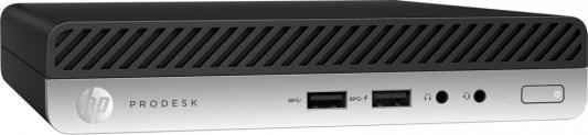 Компьютер HP ProDesk 400 G3 Mini Intel Core i5-7500T 4Gb SSD 128 Intel HD Graphics 630 Windows 10 Professional черный серебристый 1EX78EA компьютер hp z2 mini g3 intel core i7 6700 16gb ssd 256 m620 2048 мб windows 10 professional черный 1cc42ea