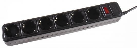 Сетевой фильтр 3Cott 3C-SP1006B-1.8 черный 6 розеток 1.8 м