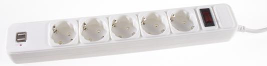 Сетевой фильтр 3Cott 3C-SP1005UW-1.8 белый 5 розеток 1.8 м