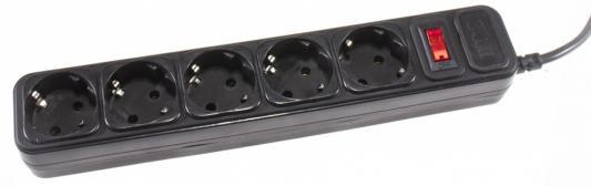 Сетевой фильтр 3Cott 3C-SP1005B-1.8 черный 5 розеток 1.8 м