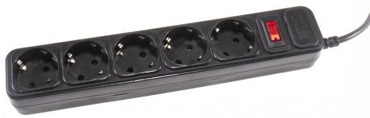 Сетевой фильтр 3Cott 3Cott 3C-SP1005B-1.8 черный 5 розеток 1.8 м