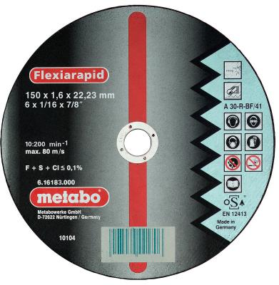 Отрезной круг Metabo Flexiarapid 150x1.6 прямой A30R 616183000