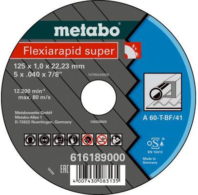 Отрезной круг Metabo Flexiamant S 125x1 прямой А60Т 616189000 отрезной круг metabo flexiamant s 350x3x25 4 прямой a24m 616338000