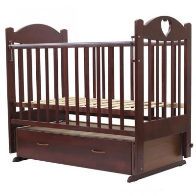 Купить Кроватка с маятником Топотушки Ева-6 (арт. 16/вишня с сердечком), береза, Кроватки с маятником