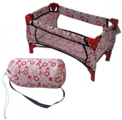 Кроватка для кукол 1Toy Красотка белая с красными цветами Т57309