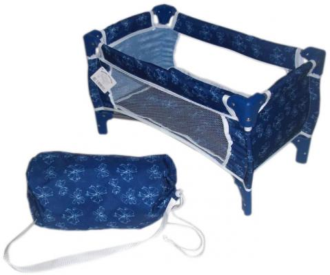 Кроватка для кукол 1Toy Красотка синяя с белым принтом Т57308