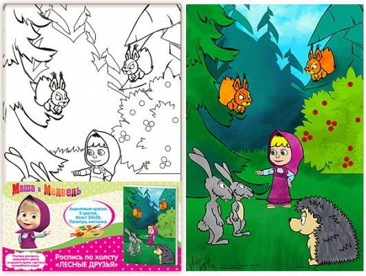 Набор для росписи по холсту РОСМЭН «Лесные друзья», Маша и Медведь от 5 лет