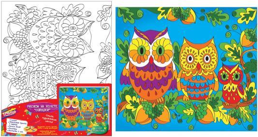Набор для росписи по холсту Креатто Совушки от 5 лет 24402 набор для росписи по холсту креатто такса от 3 лет 30170