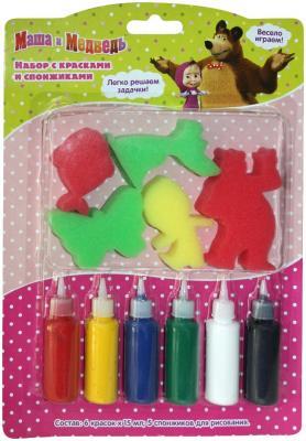 Набор для творчества РОСМЭН с красками и спонжиками, Маша и Медведь от 3 лет 31075