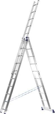 Лестница Сибин универсальная трехсекционная со стабилизатором 8 ступеней 38833-08