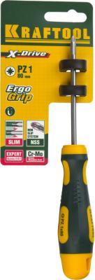 Отвертка Kraftool Expert Cr-Mo-V сталь двухкомпонентная противоскользящая рукоятка PZ №1x80мм 250073-1-080  отвертка kraftool expert ph 1x80мм