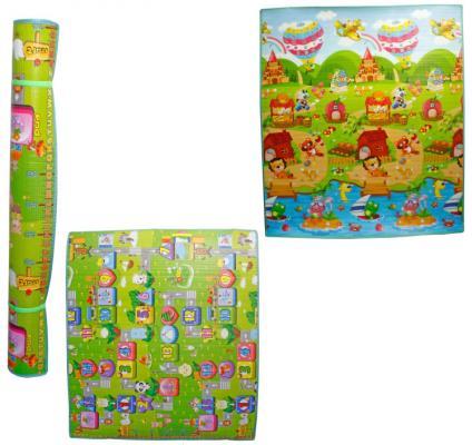 Игровой коврик 1toy для малышей EPE средний 1.5M*1.8M*1CM, тубус, двусторонний, рисунок: дорога+цифры, зверюшки Т59131