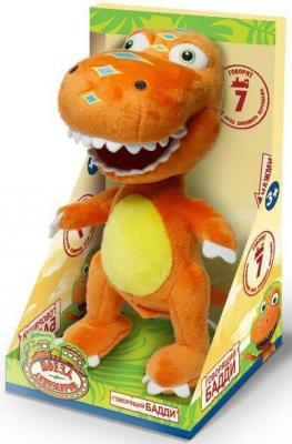 """Мягкая игрушка 1toy """"Поезд динозавров"""" - Бадди плюш оранжевый 18 см звук"""